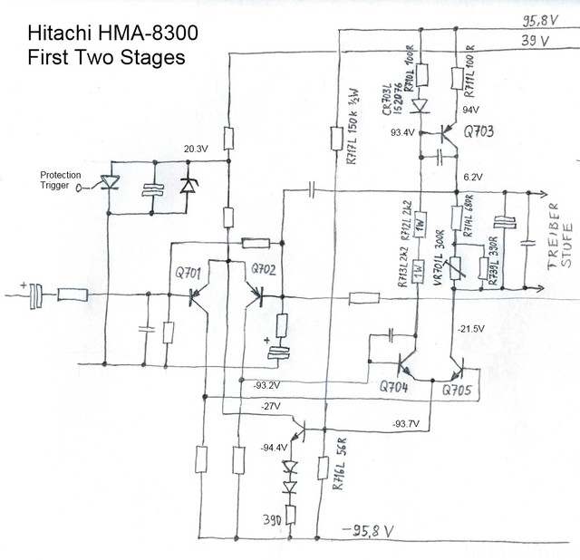 Hitachi HMA-8300 Power Amplifier - Cicuit Diagram Of First Two Amp Stages