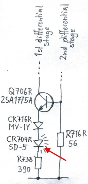 Hitachi HMA-8300 Power Amplifier - Current Source Circuit With Broken Diode