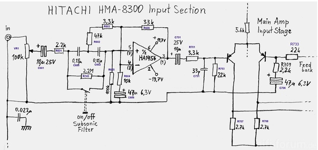 Hitachi HMA-8300 Power Amplifier - Input Section With Subsonic Filter (Updated)