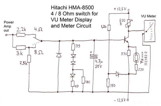 Hitachi HMA 8500MkII Schematic 4Ohm 8Ohm Switch For VU Meter  800