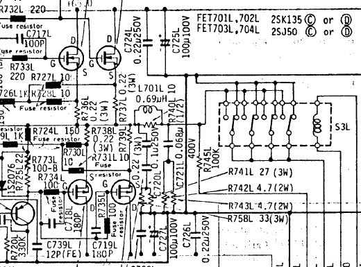 Hitachi HMA 9500 Output Transistors And Relais Schematic Detail