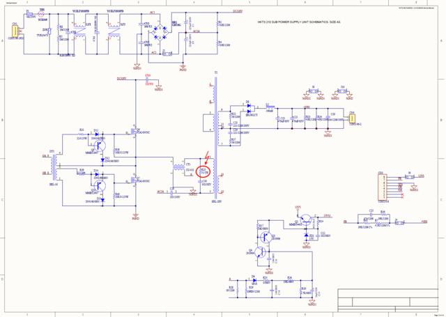 HKTS210 schematic detail power supply burnt resistor marked