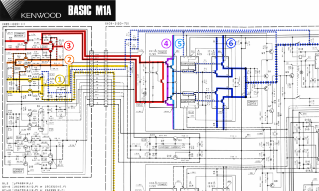 Kenwood Basic M1A schematic detail left power amp stages marked