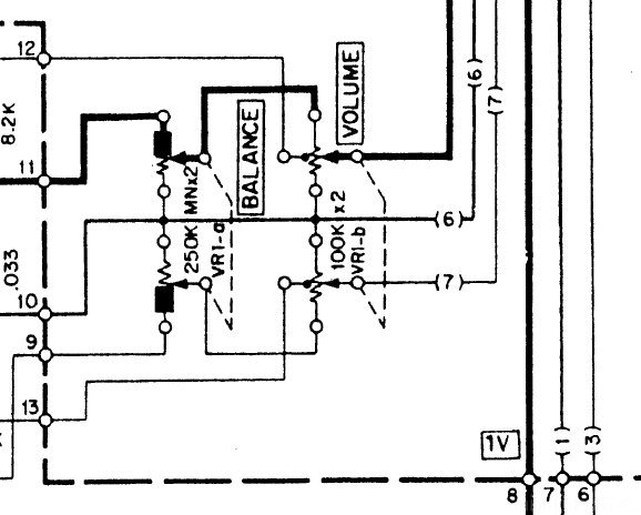 Kenwood KA-8100 Schematic detail volume and balance potentiometer