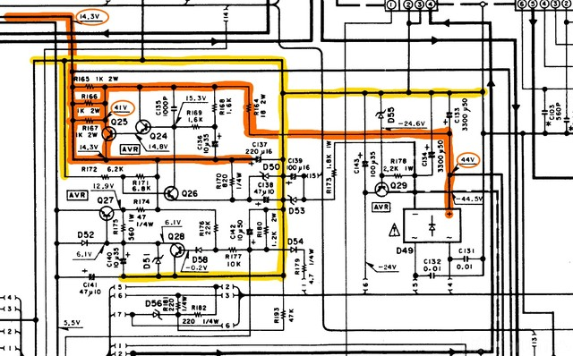 Kenwood KR-A47 detail 14V voltage regulator in schematic