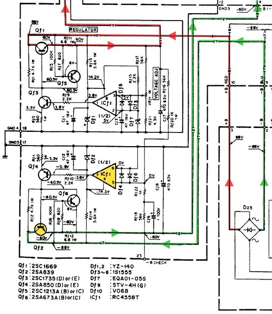 Kenwood L-07M MkII schematic voltage regulator for VAS stages OpAmp and transistor defective