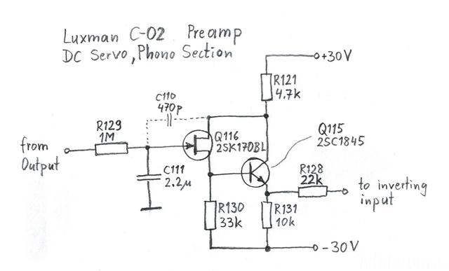 Luxman C-02 Phono DC Servo Schematic