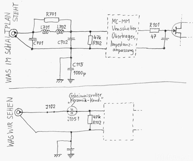 Luxman C-02 Phono Input - Strange Circuit Deviating From Schematic