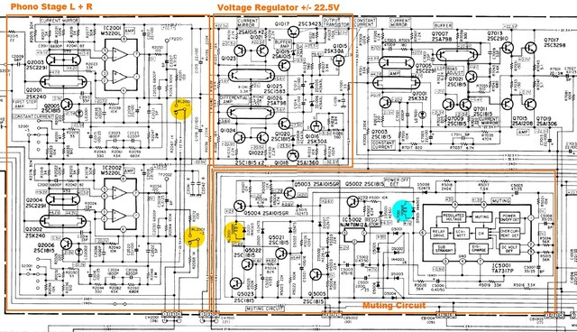 Luxman C 03 Preamp Schematic Phono Stage And Voltage Regulator Showing Muting Relay