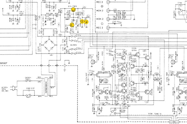 Luxman L-190 schematic detail power supply and left power amp section _marked
