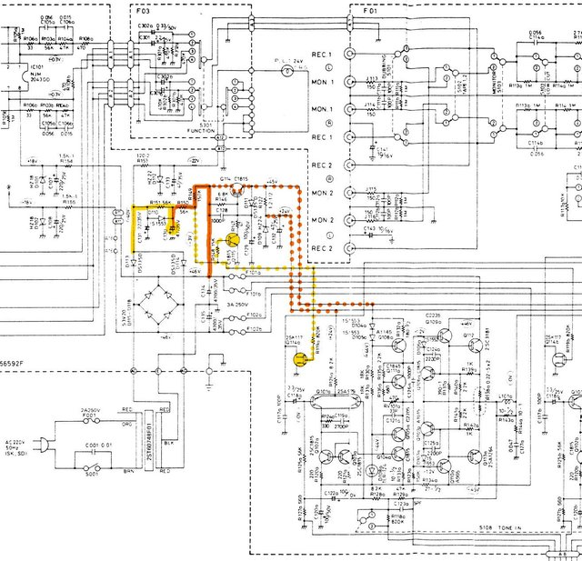 Luxman L 190 Schematic Detail Power Supply And Pilot Lamp And Left Power Amp Section  Marked