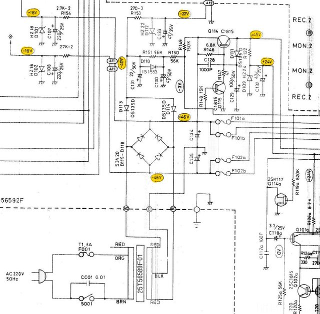 Luxman L-400 L-230 schematic detail power supply all voltages regulators zener diodes
