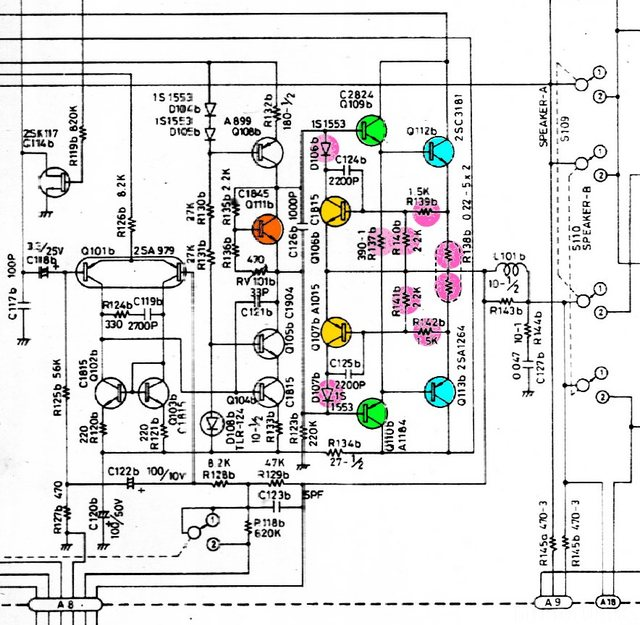 Luxman L-400 L-230 schematic detail right power amplifier with potentially damaged parts marked