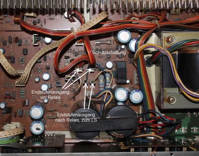 Luxman L-410 inside power amp output cables marked