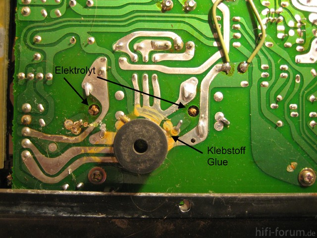Luxman L-410 Leaking Electrolytic Capacitors bottom PCB view