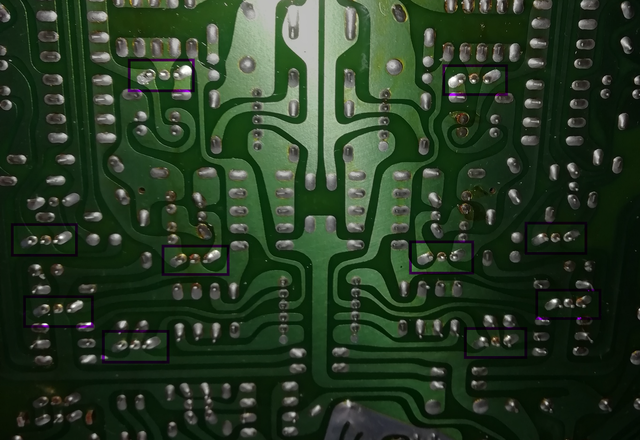 Luxman L-410 PCB With Suspicious Solder Joints Of TO126 Transistors