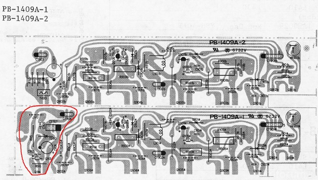 Luxman L 410 Power Amp Section PCB Layout  Marked