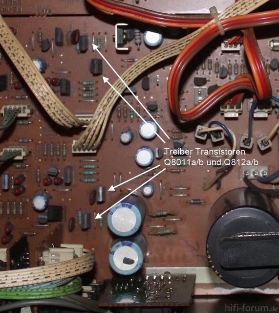 Luxman L-410 - Treiber-Transistoren Der Endstufen, Markiert Auf Der Platine