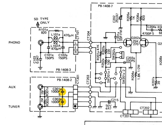 Luxman L 410 Tuner & Aux Input Capacitors In Schematic