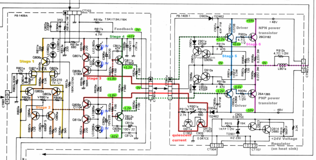 Luxman-L410 Power Amp Section Schematic stages marked v2