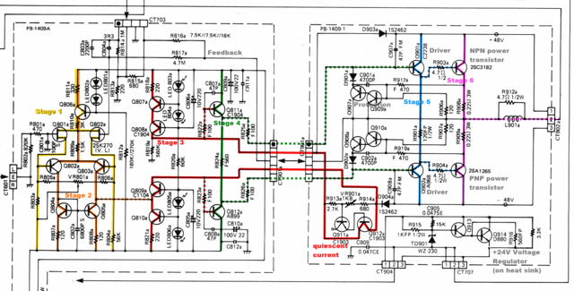 Luxman-L410 Power Amp Section Schematic Stages Marked