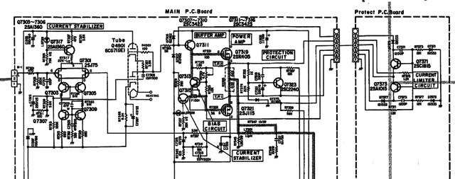 Luxman LV-103 schematic detail left power amp redraw