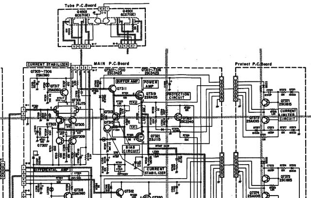 Luxman LV-103 schematic detail left power amp