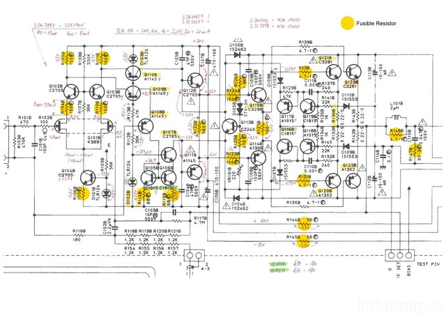 Luxman M-02 Schematic with voltage and fusible resistors marked 222650