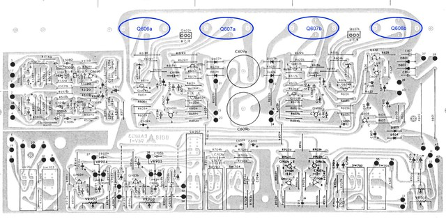 Luxman R-600 PCB layout power amp section
