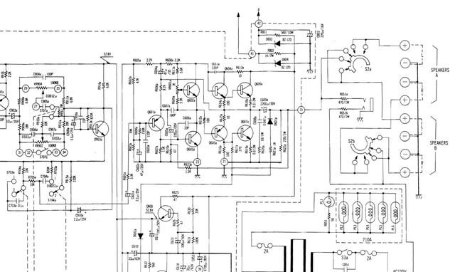 Luxman R-600 schematic detail left power amp section