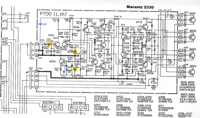 Marantz 2330 Schematic Detail Power Amp Signal And Shunt Capacitors