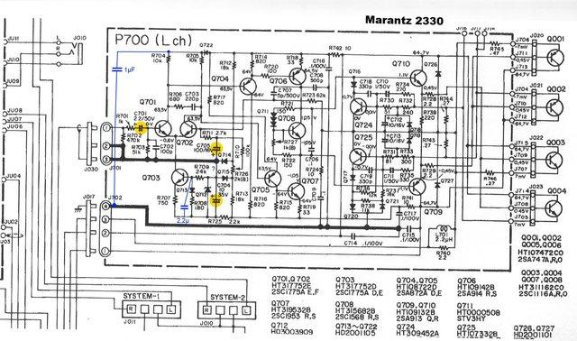 Marantz 2330 Schematic Detail Power Amp Signal And Shunt Capacitors