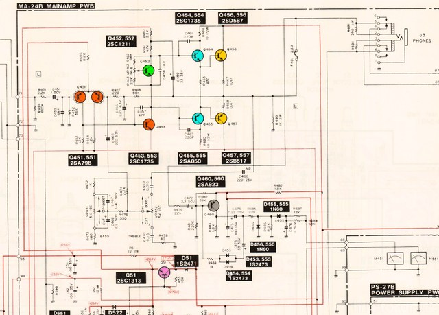 Mitsubishi DA U200 Schematic Detail Power Amp Left Channel  Marked