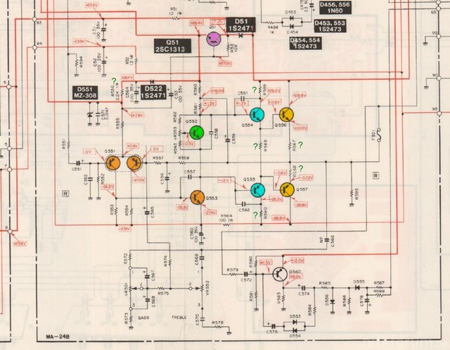 Mitsubishi DA U200 Schematic Detail Power Amp Right Channel  Marked