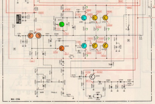 Mitsubishi DA U300 Schematic Detail Power Amp Right Channel Marked