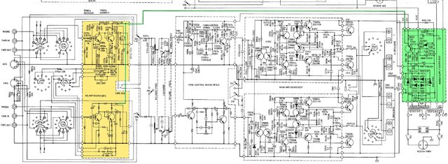 NAD 140 schematic detail phono RIAA & tone control amp & power amp & power supply marked