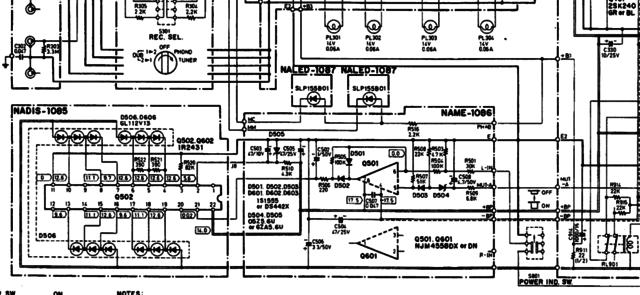 Onkyo A-35 schematic detail display driver