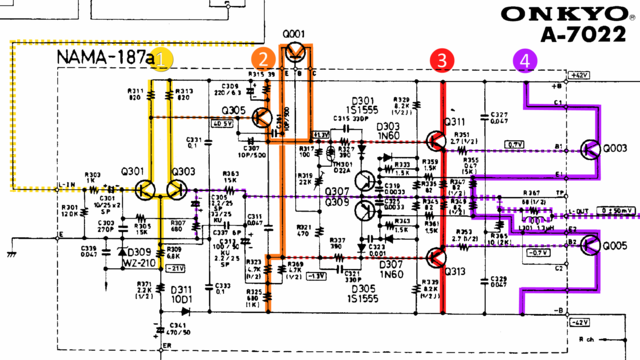 Onkyo A-7022 schematic detail left power amp stages marked