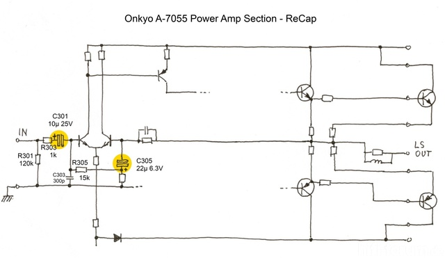 Onkyo A 7055 Power Amp Section   ReCap  Midres
