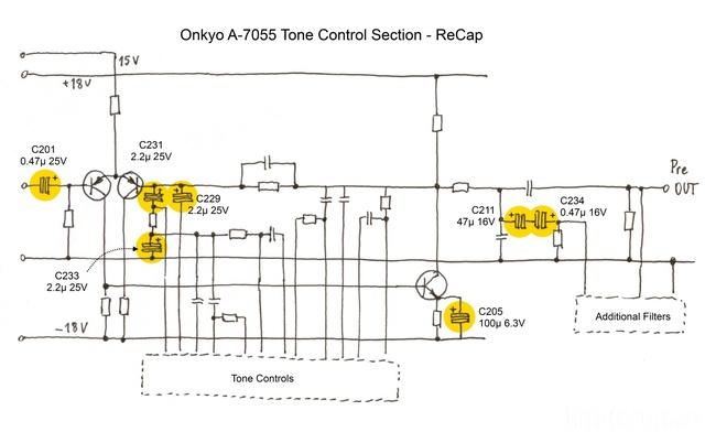 Onkyo A 7055 Tone Control Section   ReCap  Midres
