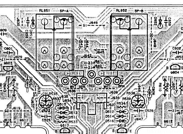 Onkyo A 8850 PCB Layout Output Relais
