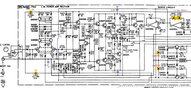 Onkyo M-5060 schematic left power amp recap bypass capacitors