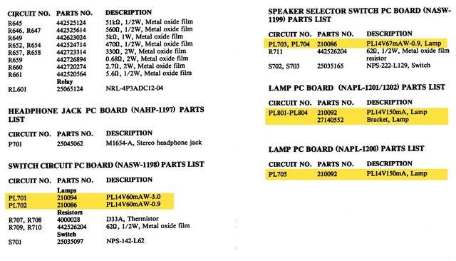 Onkyo M-5060R Parts List Pilot Lamps Light Bulbs