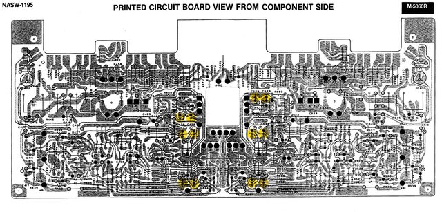 Onkyo M-5060R PCB layout power amp left channel recap parked