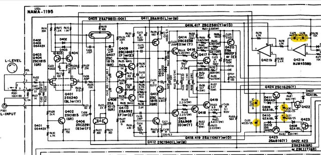 Onkyo M-5060R schematic power amp left channel recap marked