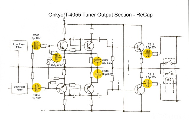Onkyo T 4055 Output Section   ReCap  Midres