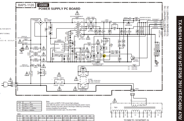 Onkyo TX-NR414 schematic detail Power Supply PC Board TL431 marked