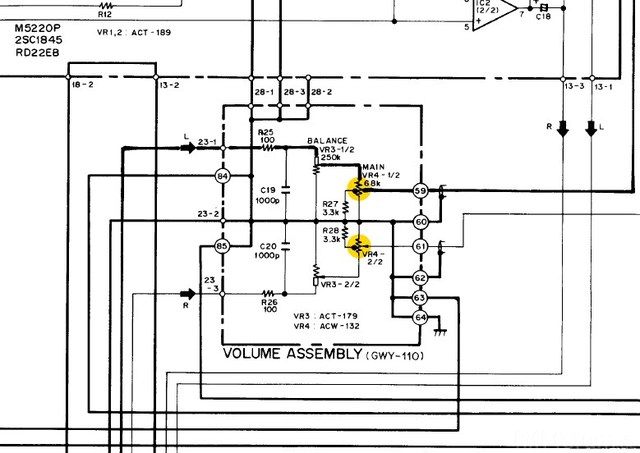 Pioneer A-88x schematic detail volume assembly