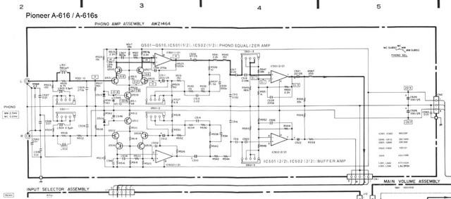 Pioneer A616 Schematic Detail Phono Amp Section