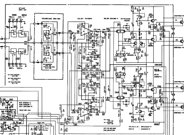 Pioneer SA-608 SA-6800 schematic detail pre and power amp section